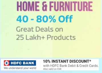 Get Flat 40% - 80% off on Home & Furniture [Lakhs of Products to Choose]