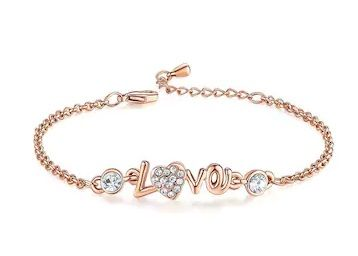 Om Jewells Crystal Jewellery Rose Gold Plated Rhinestone LOVE Link Bracelet at Rs. 39
