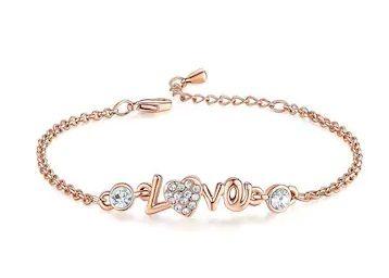 Om Jewells Crystal Jewellery Rose Gold Plated Rhinestone LOVE Link Bracelet at Rs. 39