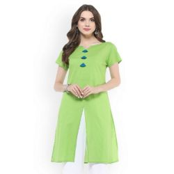 Green color and Cotton Fabric Free Size Printed Ladies Kurta