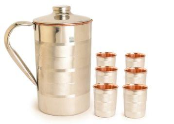 Frestol Designer Handmade Copper Jug & Glasses - Set of 7 at Rs. 1138