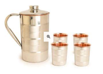 Frestol Designer Handmade Copper Jug & Glasses - Set of 5 at Rs. 810