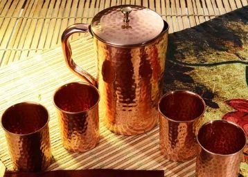 Frestol Copper 5-piece Designer Handmade Jug - Set of 5 at Rs. 1132
