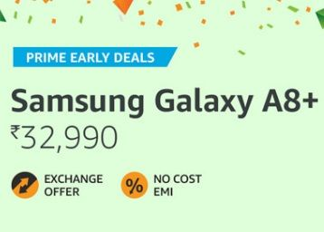 Samsung Galaxy A8+ (Gold, 6GB RAM + 64GB Memory) at Rs. 32990 + Bank Offers