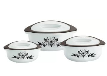 Cello Hot Meal Pack of 3 Casserole Set (500 ml, 850 ml, 1500 ml) at Rs. 399