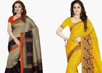 ISHIN Womens Faux Georgette Printed Saree at 70% Off