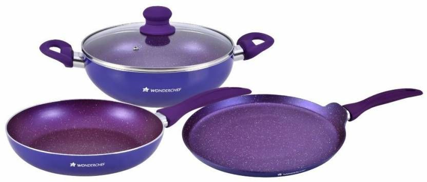Wonderchef Blueberry Induction Bottom Cookware Set (Non-stick), 3 - Piece) at Just Rs. 1499