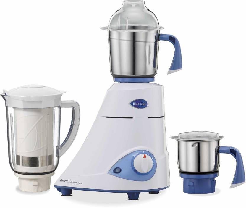 Preethi Blue leaf Platinum select 750 W Mixer Grinder (White, 3 Jars) at Flat 82% off