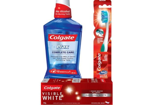 Flat 25% off:- Colgate Visible White Sparkling Toothpaste - 100 g (Mint) and 360 Visible White Toothbrush with Plax Complete Care Mouthwash - 250 ml