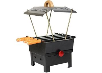 Spartan Hut Shaped Barbeque with 4 Skewers Charcoal Grill