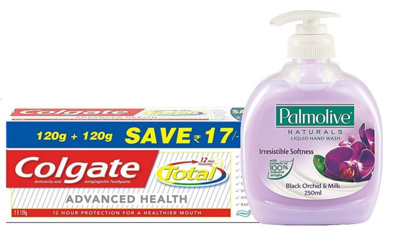 Colgate Total Advance Health Toothpaste - 240 g and Palmolive Orchid and Milk Black Natural Hand Wash - 250 ml (Pack of 2)