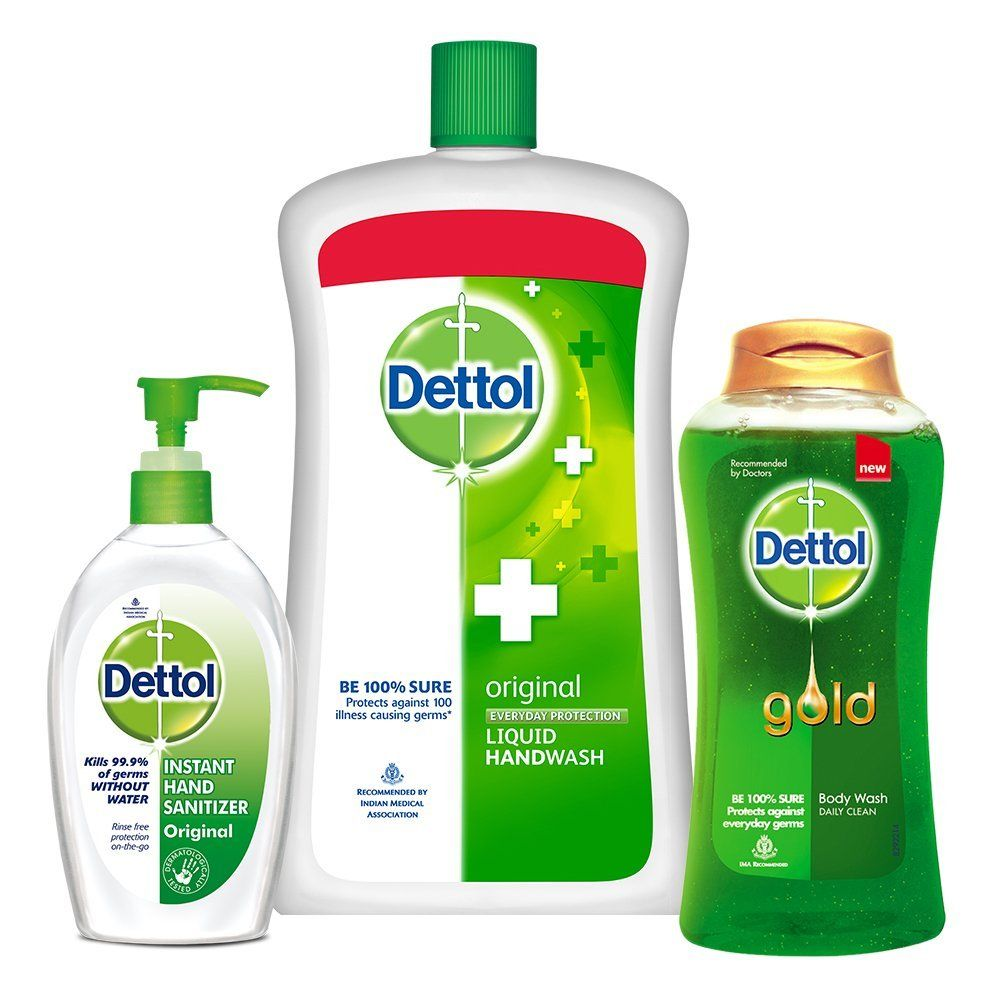 Dettol Handwash Original - 900 ml with Dettol Sanitizer Original - 200 ml and Dettol Daily Clean Bodywash - 250 ml