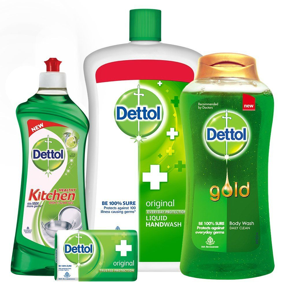 Dettol Handwash - 900 ml with Dettol Original Soap - 125g, Dettol Kitchen Gel Lime - 750 ml and Dettol Daily Clean Bodywash - 250 ml