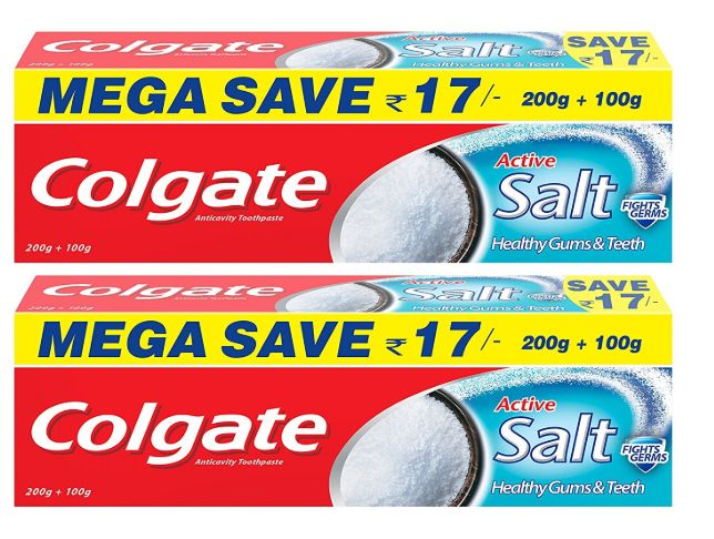 Apply 5% Code - Colgate Active Salt Toothpaste Natural Saver Pack - 300 g (Pack of 2) at Flat 30% off