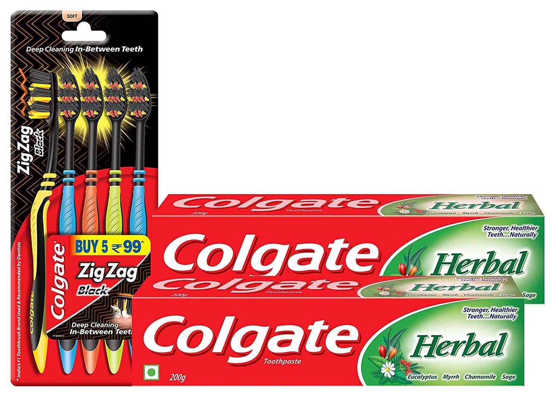 Colgate Herbal Toothpaste 200 g (Pack of 2) plus Colgate ZigZag Black Medium Tooth Brush (Pack of 5) at Rs. 206