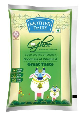 Mother Dairy Cow Ghee, 1L at Just Rs. 456 [Make Cart Value Rs. 1000 & Get Rs. 350 Cashback]