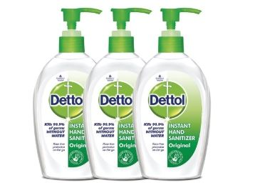 Dettol Sanitizer Regular - 200 ml (Pack of 3) at Just Rs. 520