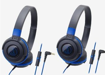 Audio-Technica ATH-S100IS On Ear Earphones with Mic (Blue)