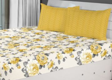 Living Essence Fiesta Flora Double Bedsheet Gold at Just Rs. 599