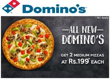 Select any 2 Medium Pizzas Worth Rs. 305 at Rs.199 each