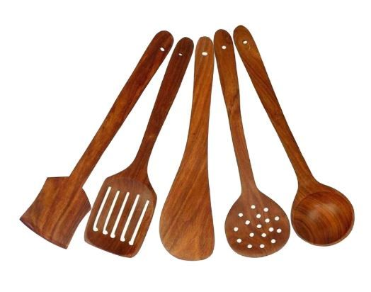 Flat 74% Off:- Home Creations Wooden 5 Pcs Kitchen Cooking Tool Set