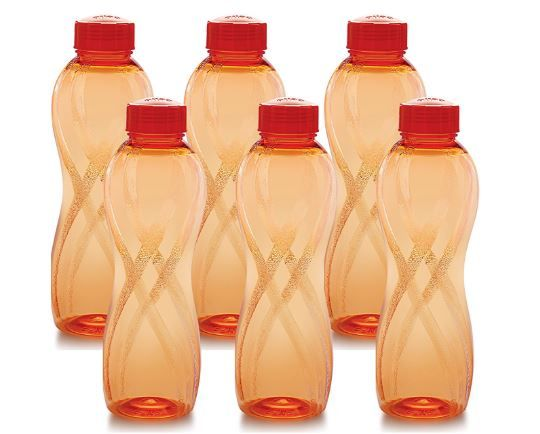 Cello Twisty PET Bottle Set, 1000 ml, Set of 6, Orange at Just Rs. 150