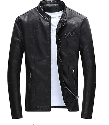 Men Fashion Winter Casual Slim Fit Cool Zipper Pocket Faux Leather Jacket
