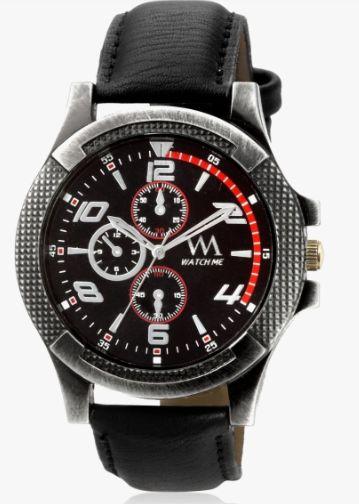 Watch Me Black Leather Analog Watch
