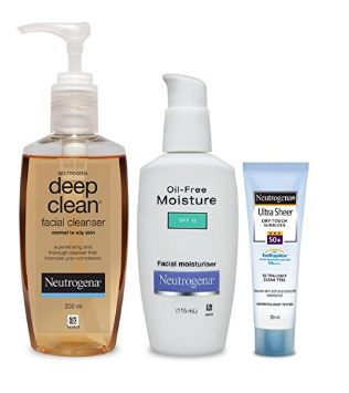 Neutrogena Oily Skin Combo (Deep Clean Facial Cleanser 200ml, Oil Free Moisturiser 115ml, Ultra Sheer Dry-Touch Sunblock SPF 50+ 30ml)