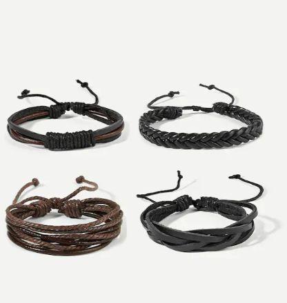 Men Woven Bracelet Set 4pcs