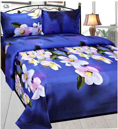 Multicolour Poly Cotton Double Size Bedsheet - Set Of 3