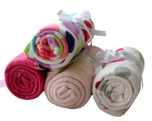 Pink Polyester Baby Blanket - Set of 4