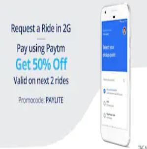 50% Off 2 rides on Uber Lite using Paytm