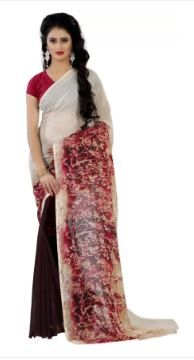 Wama Fashion Printed Daily Wear Faux Georgette Saree 80%OFF In Just Rs.199