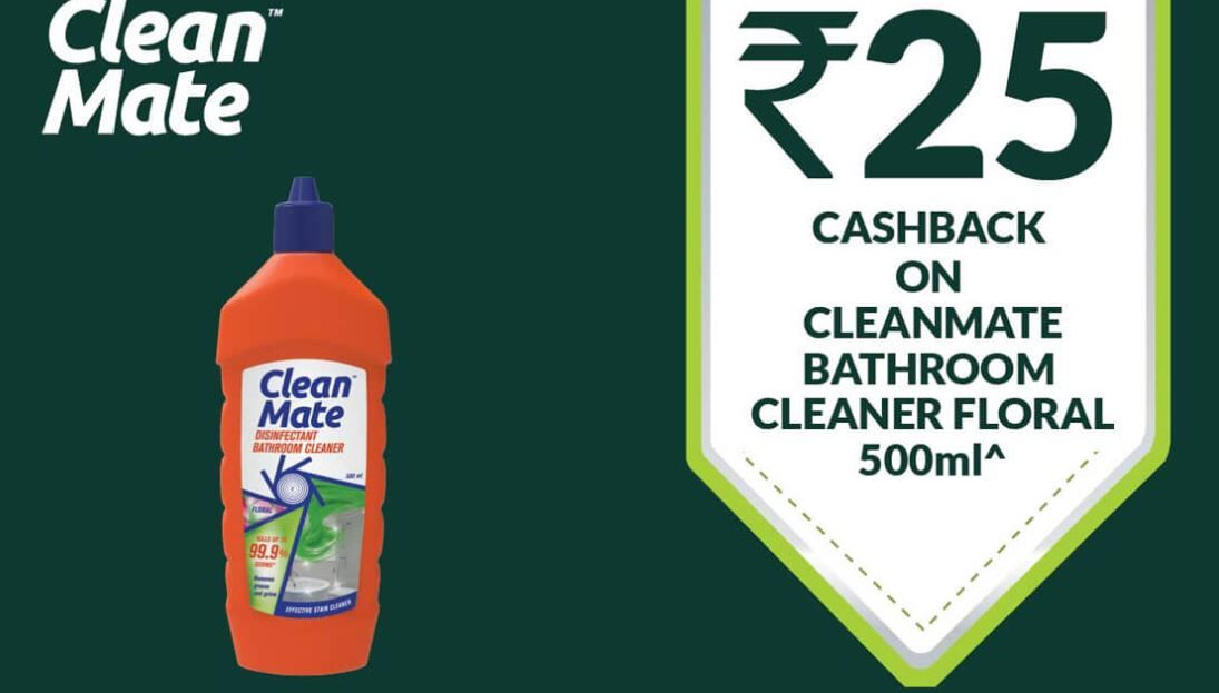 Clean Mate Bathroom Cleaner Rs.25 Cashback