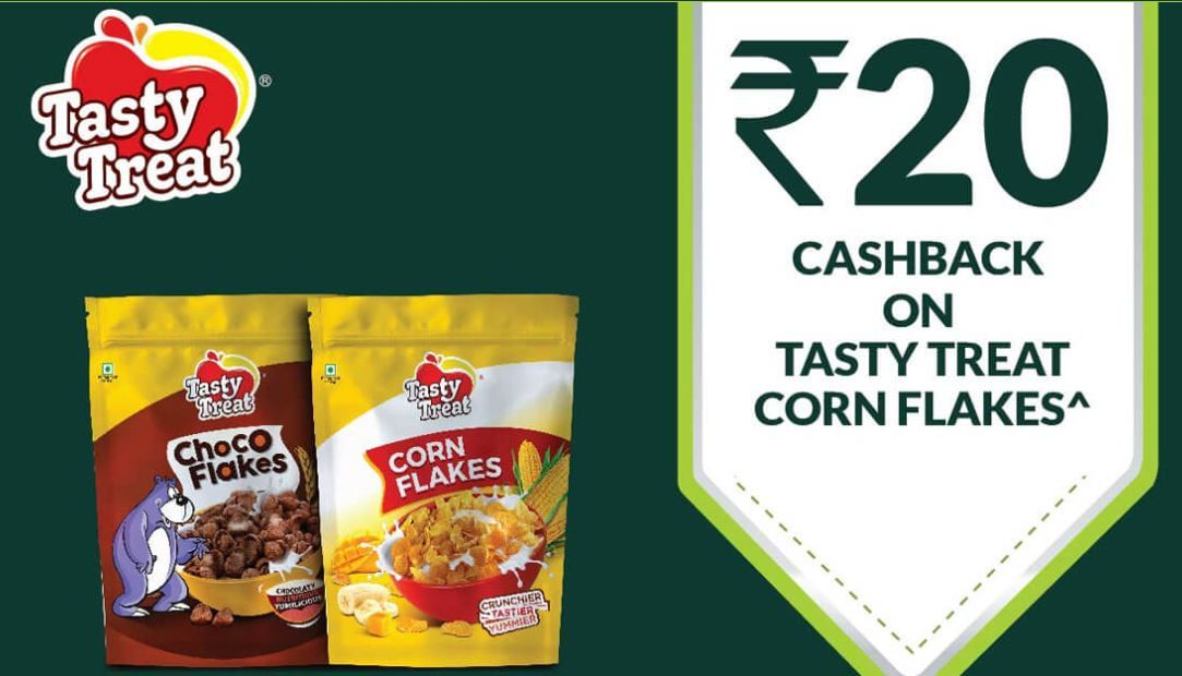 Tasty Treat And Corn Flakes Rs.20 Cashback