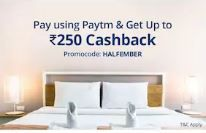 Upto Rs.250 cashback when you pay using paytm at Oyo