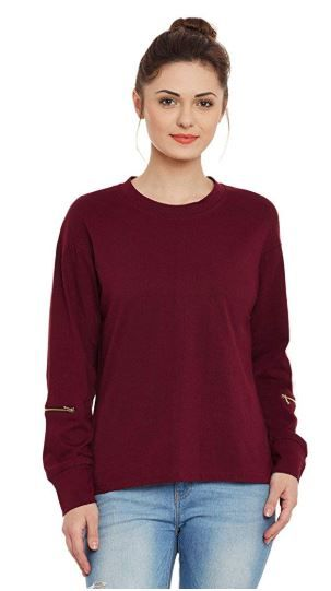 Miss Chase Womens Maroon Top on 56%OFF