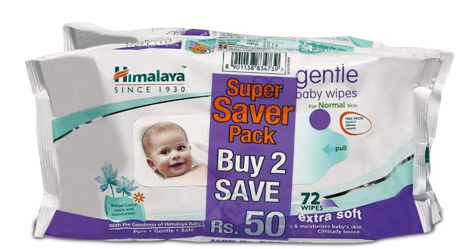 Himalaya gentle Baby Wipes (72Napkins of 2 packs) on 25%OFF+15%COUPON