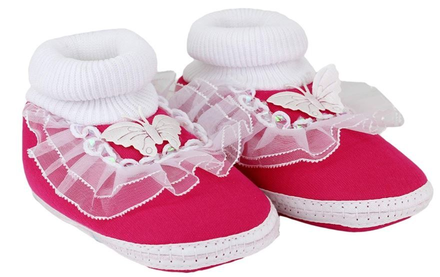 Neska Moda Baby Infant Soft Pink Booties-12 cm Length for Age Group 0-12 Months on 64% OFF