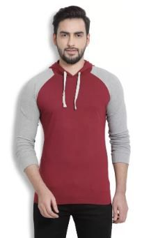 Billion PerfectFit Solid Men Hooded Maroon, on 74% OFF