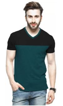 Tripr Color block Men V-neck Green on 72% OFF