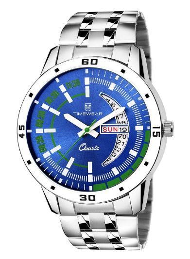 TIMEWEAR Day & Date Functioning Blue Dial Chain Watch for Boys & Men on 82% OFF