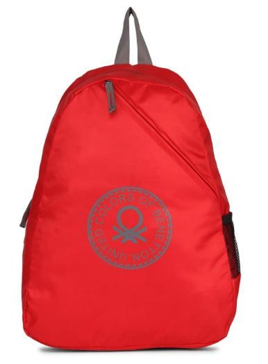 United Colors of Benetton Eco Bag 19.5 Ltrs RED/Grey Casual Backpack on 79% OFF