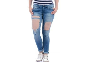 Pepe Jeans Pepe Jeans Blue Regular Fit Tattered Jeans At Rs.1399
