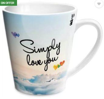 Hot Muggs Simply Love You Aarav Conical Ceramic Mug (350 ml) on 69% OFF