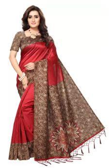 Saara Self Design Fashion Poly Silk Saree (Red) on 72% OFF