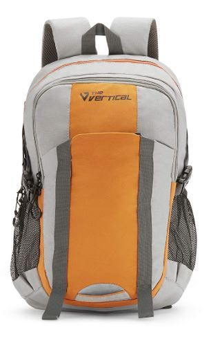 he Vertical Voyage Polyester 27 Ltrs Black and Orange School Backpack on 57% OFF