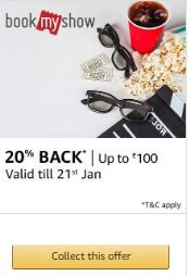 Flat 20% Back Upto Rs.100 Though Amazon Pay On Bookmyshow