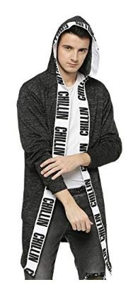 Campus Sutra Men Ribbed Hooded Long Shrug on 60% OFF